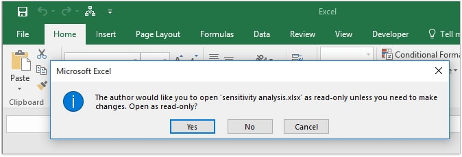open read only excel