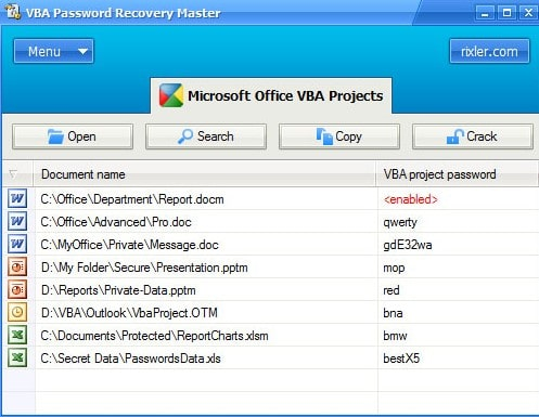 relix vba password recovery master