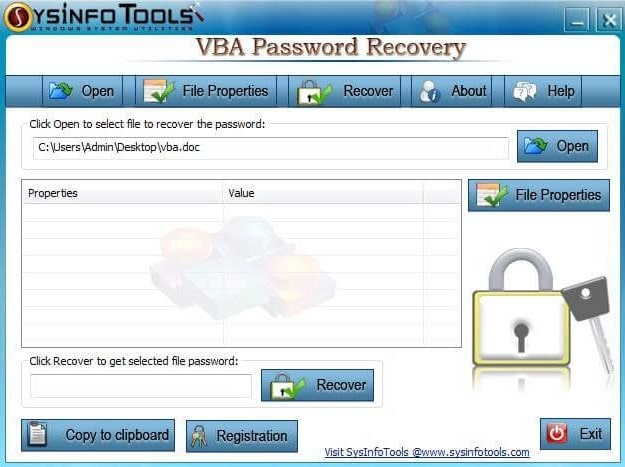 sysinfo vba password recovery