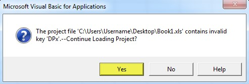 vba project contains invalid key