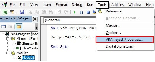 vbaproject properties