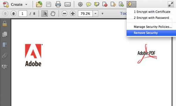 adobe acrobat remove security