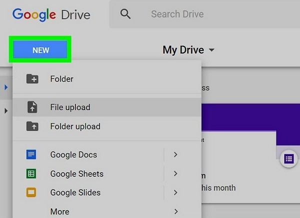 file upload google drive