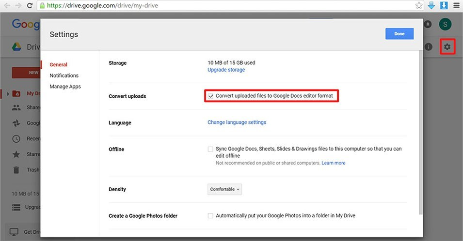 google drive settings