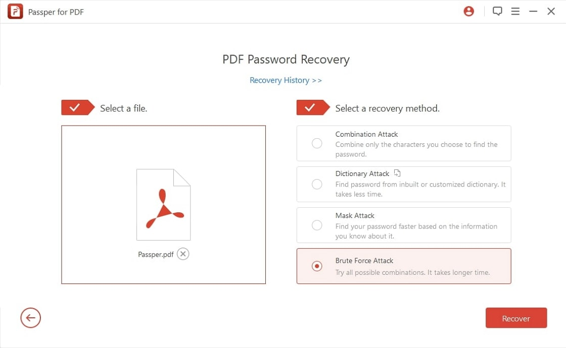 choose a file and a recovery method
