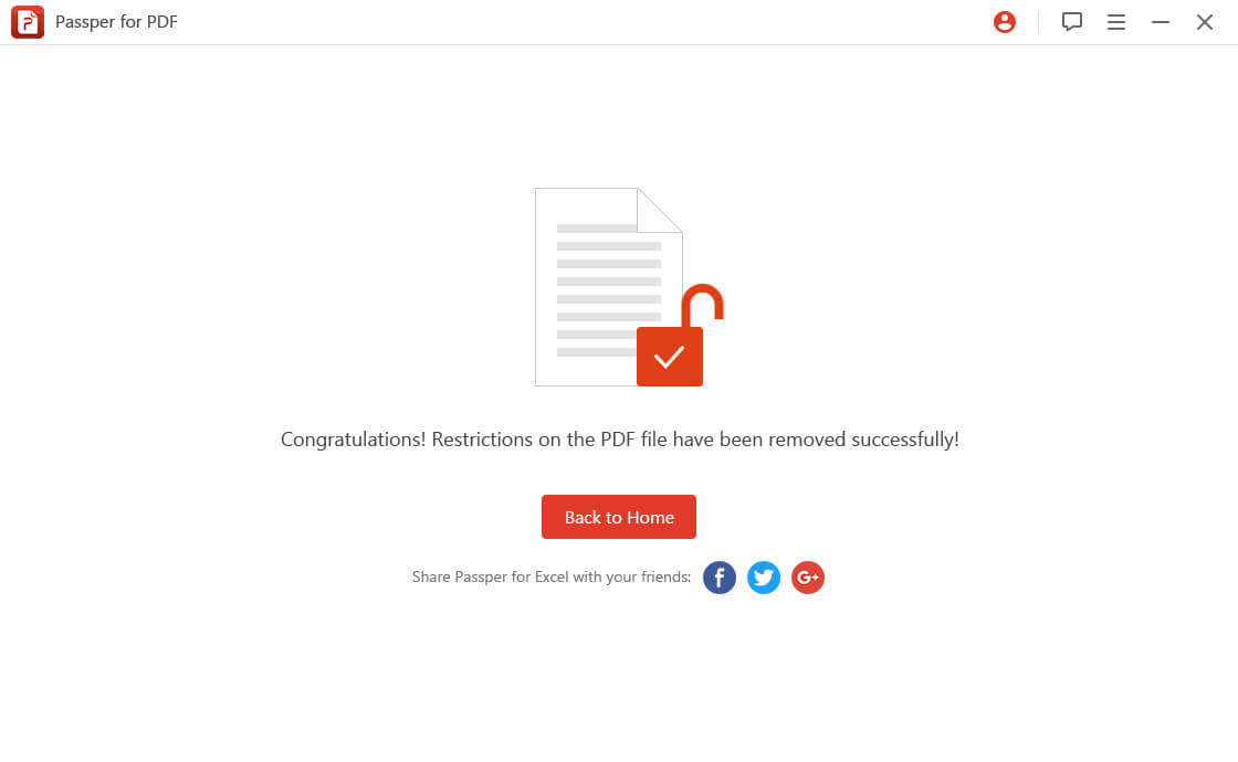 remove permissions password of PDF
