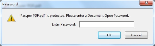 enter document open password in Adobe