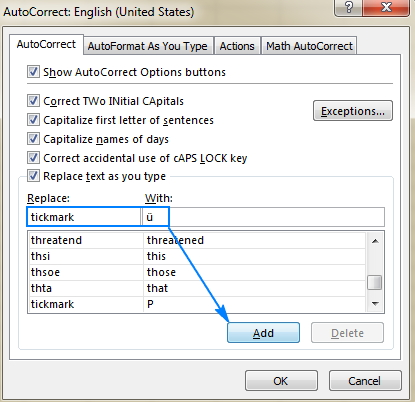 autocorrect dialogue box