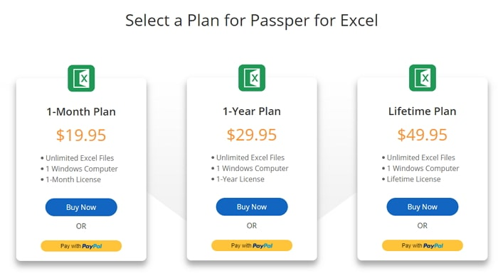 choose a license plan excel