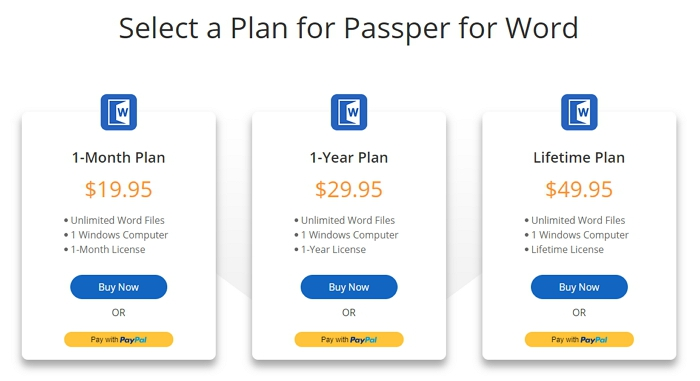 choose license plan passper for word