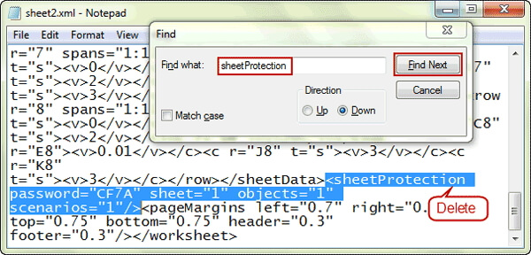 delete sheetprotection tag