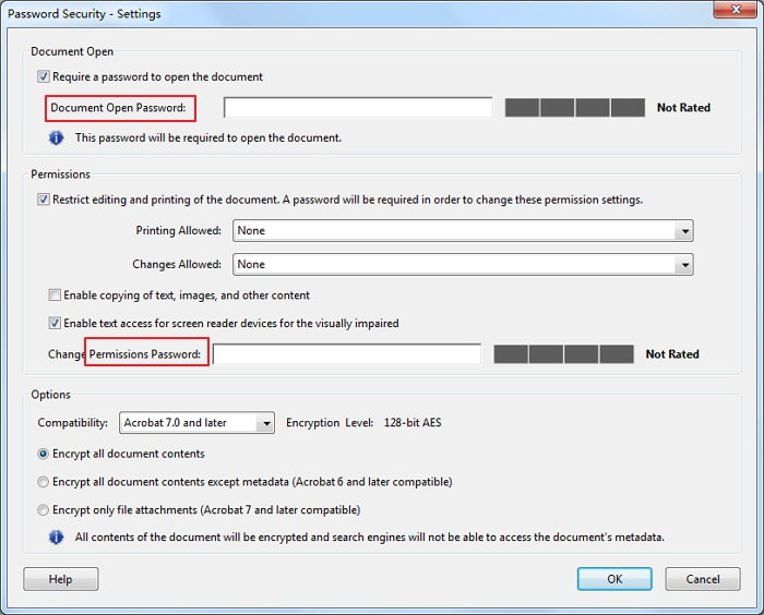 document open password & permissions password