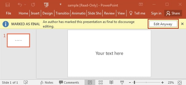 edit anyway powerpoint