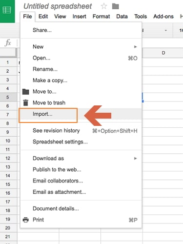 import excel to google sheet