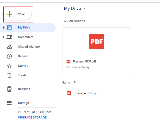 Add the PDF file to Google Drive