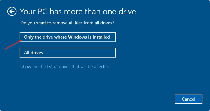 only the drive where windows is installed