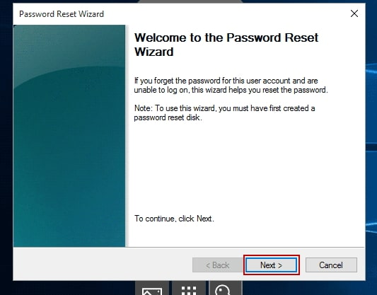 password reset wizard