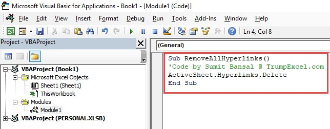 remove all hyperlinks vba code