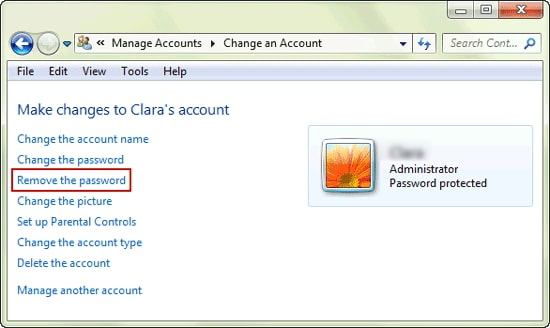 remove windows 7 login password