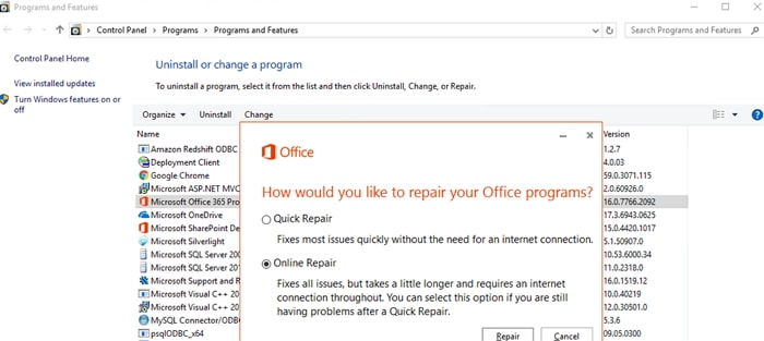 repair microsoft office