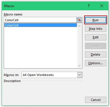 run macro in excel