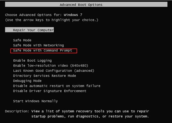 use Command Prompt in safe mode
