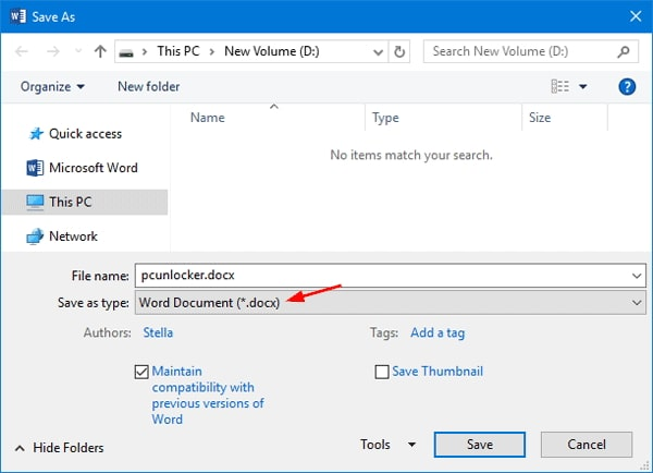 save word document in doc format