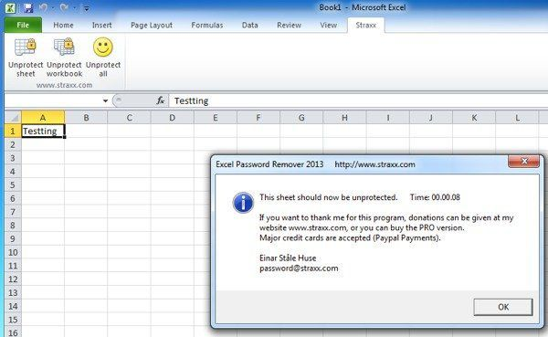 unprotect excel worksheet successfully