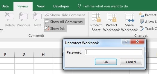 unprotect workbook