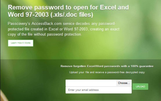 upload encrypted excel file to accessback
