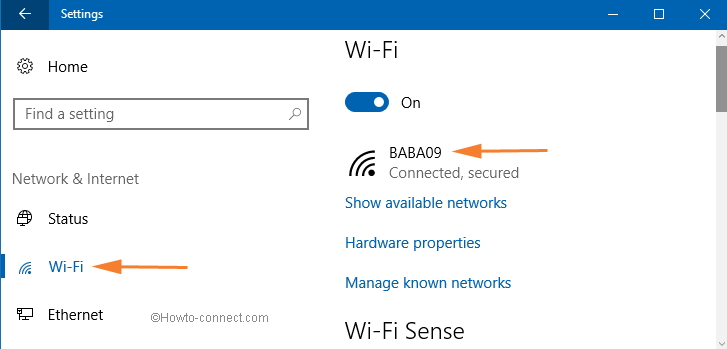 wifi showing on network