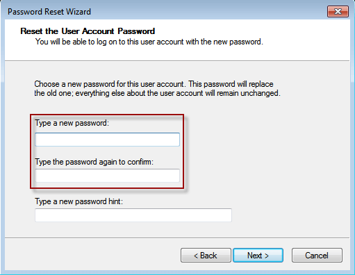 wizard to reset password