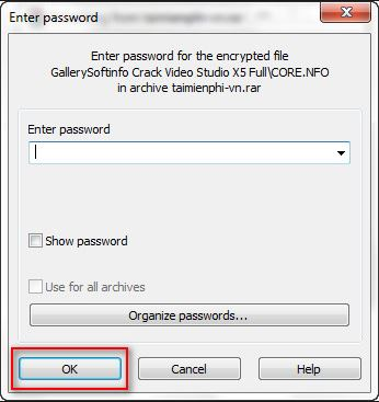 enter winrar password