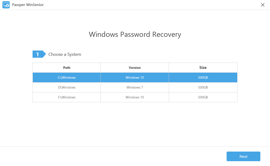 main interface of windows password recovery