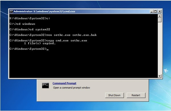 command prompt rese -password