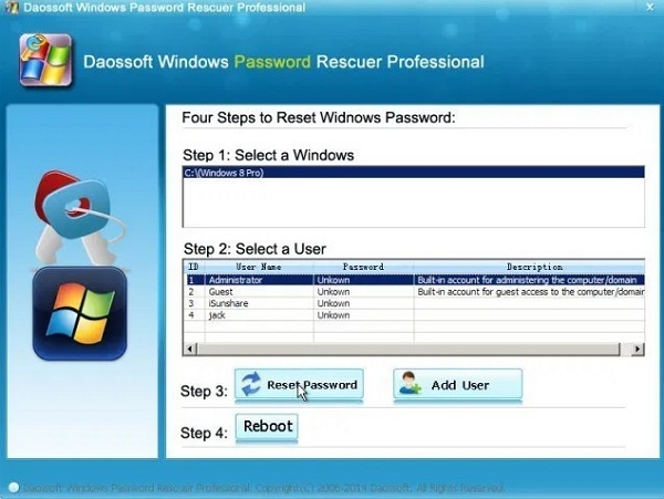 daossoft windows password rescuer