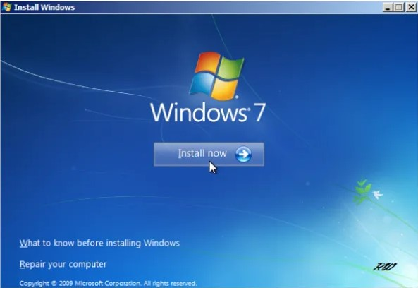 install now windows 7