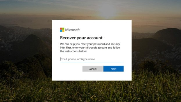 microsoft password reset page