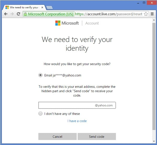 microsoft reset password verify
