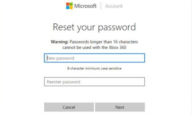 microsoft reset password