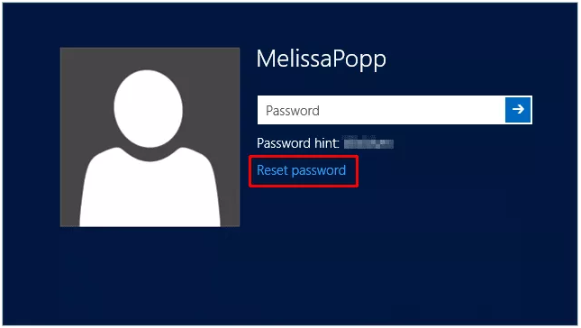 reset password link