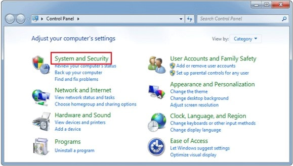 system and security windows 7