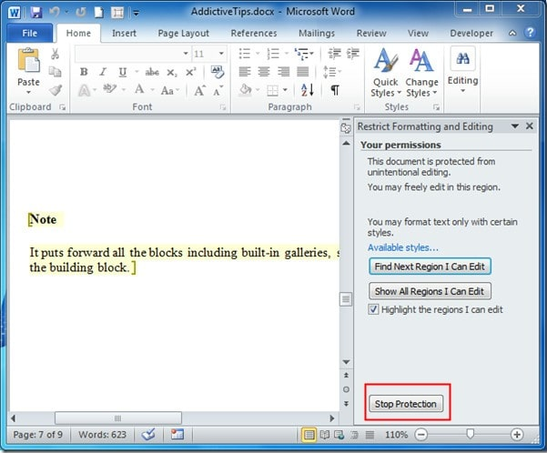 stop protection from word document