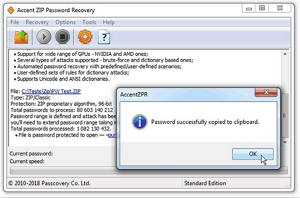 accent zip password recovery