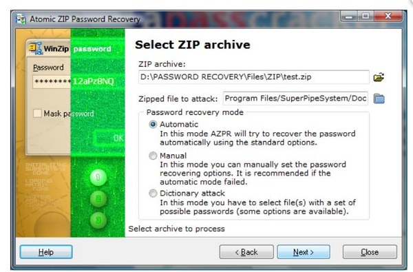 atomic zip password recovery