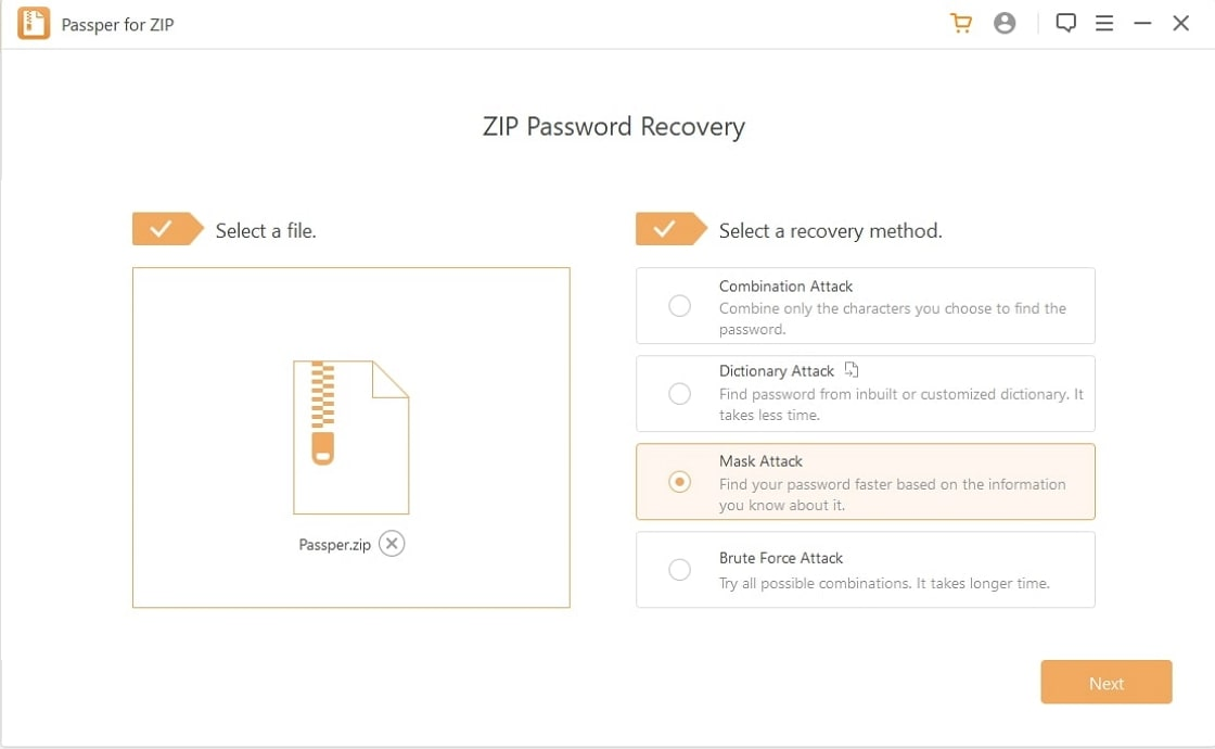 choose recovery method zip